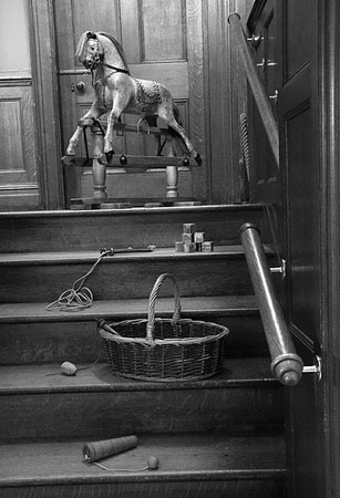 rocking horse on stairs